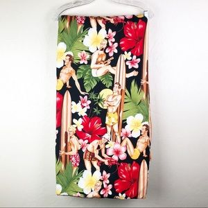 Vintage Print Hawaiian Blanket Throw Black